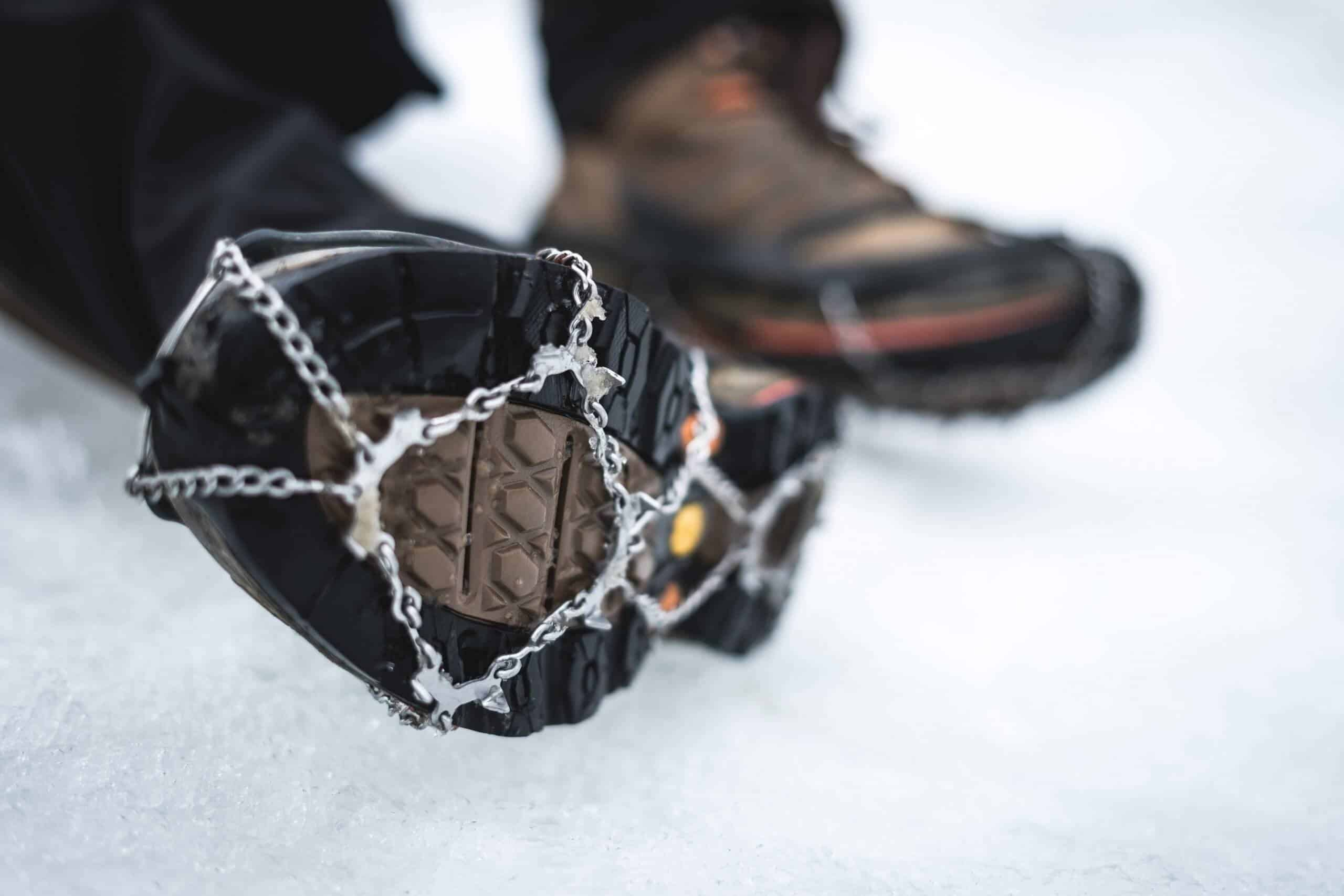 Some of the best ice cleats attached to boots
