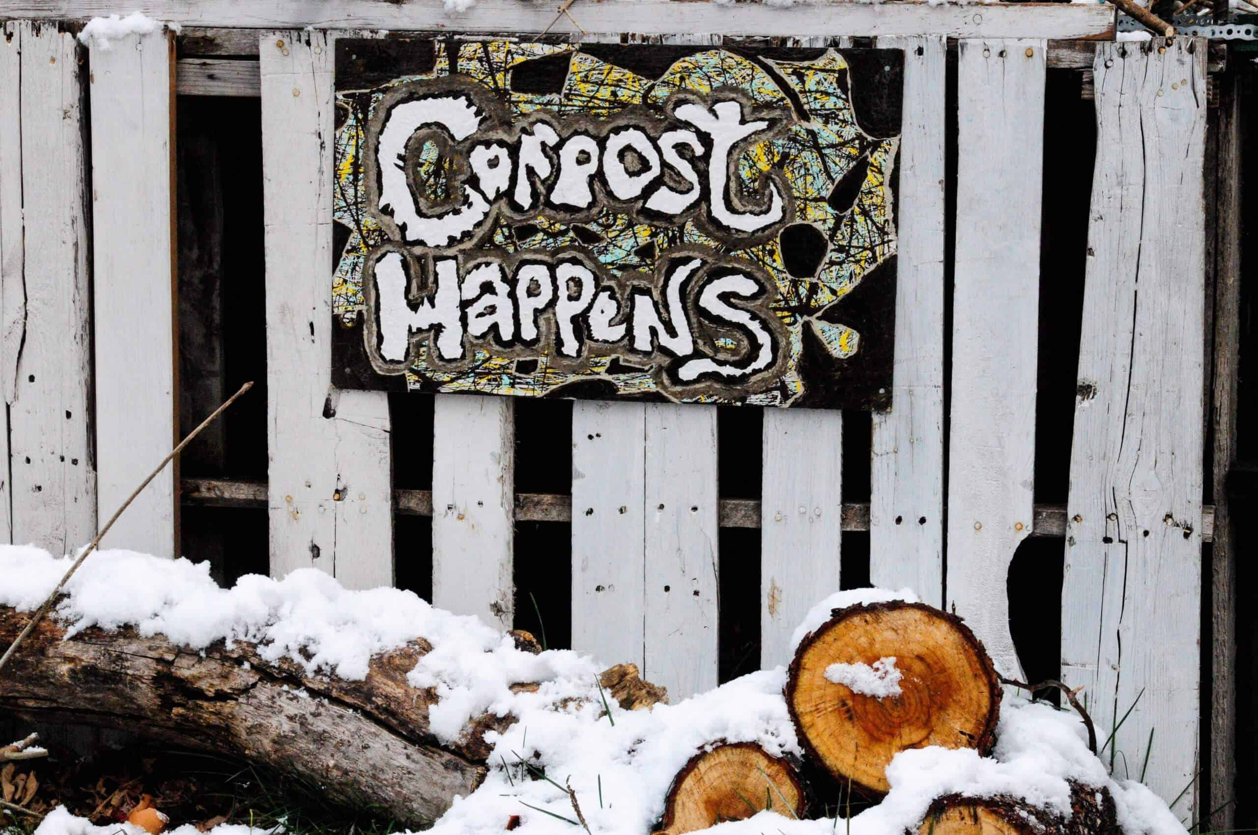 "Can fishing worms be used for composting? Sign saying ""compost happens"" hanging on a fence in the winter"
