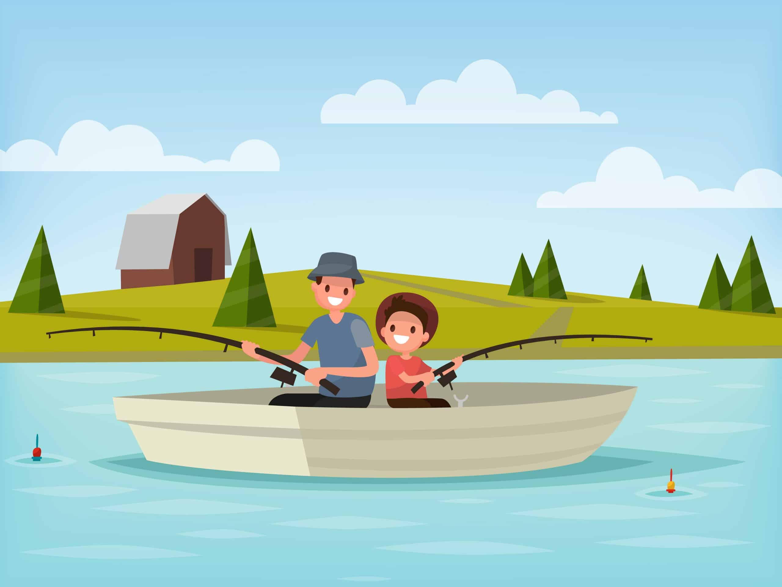 Taking Kids Fishing: Illustration of father and son sitting in a boat fishing in a lake