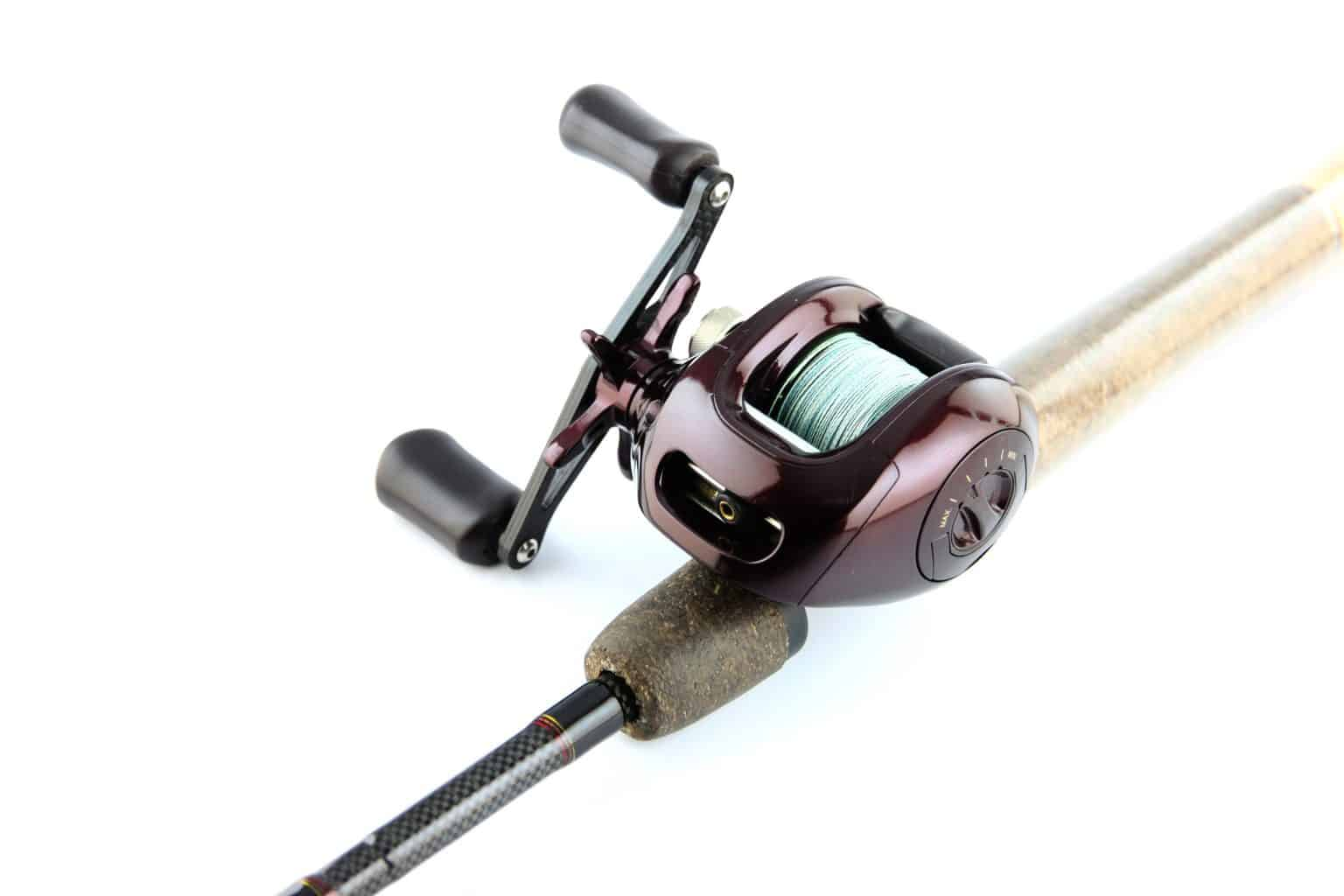 One of the best baitcaster reels under 100 on display in front of a white background