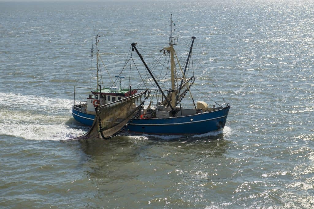 a dutch fishing boat, about to be passed