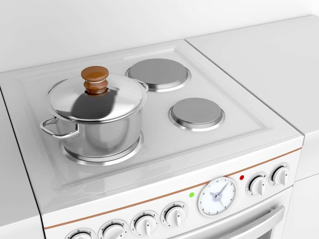 a cooking pot on an oven