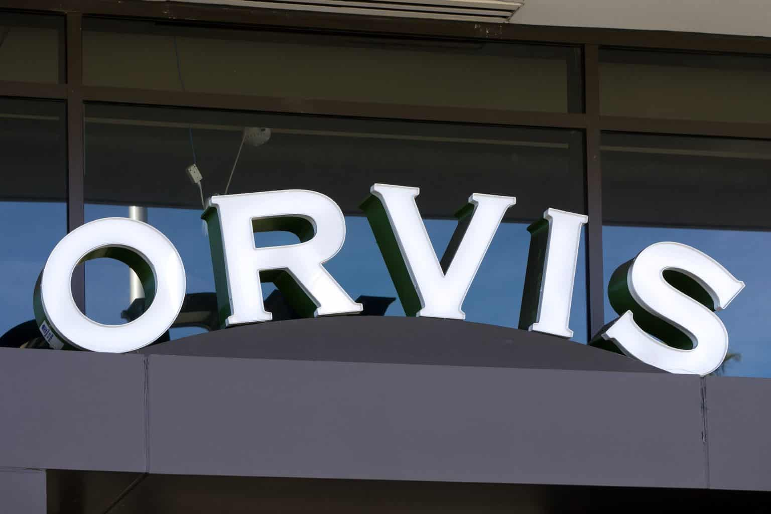 PASADEDNA: Orvis retail store exterior and logo. Orvis is a retail and mail-order business sporting goods and undoubtedly one of the best fly fishing brands in the world