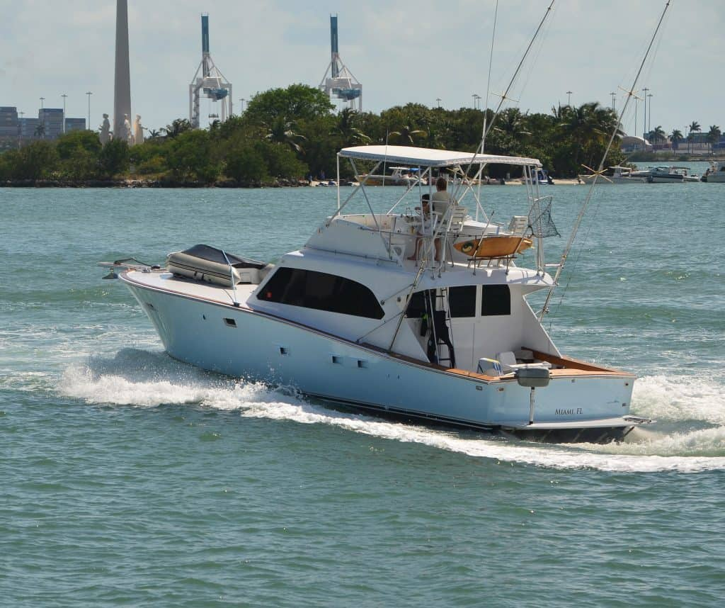 A sport fishing boat on the water in the US.