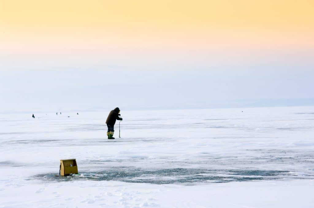 Hobby of many people - it is fishing in the winter in maine