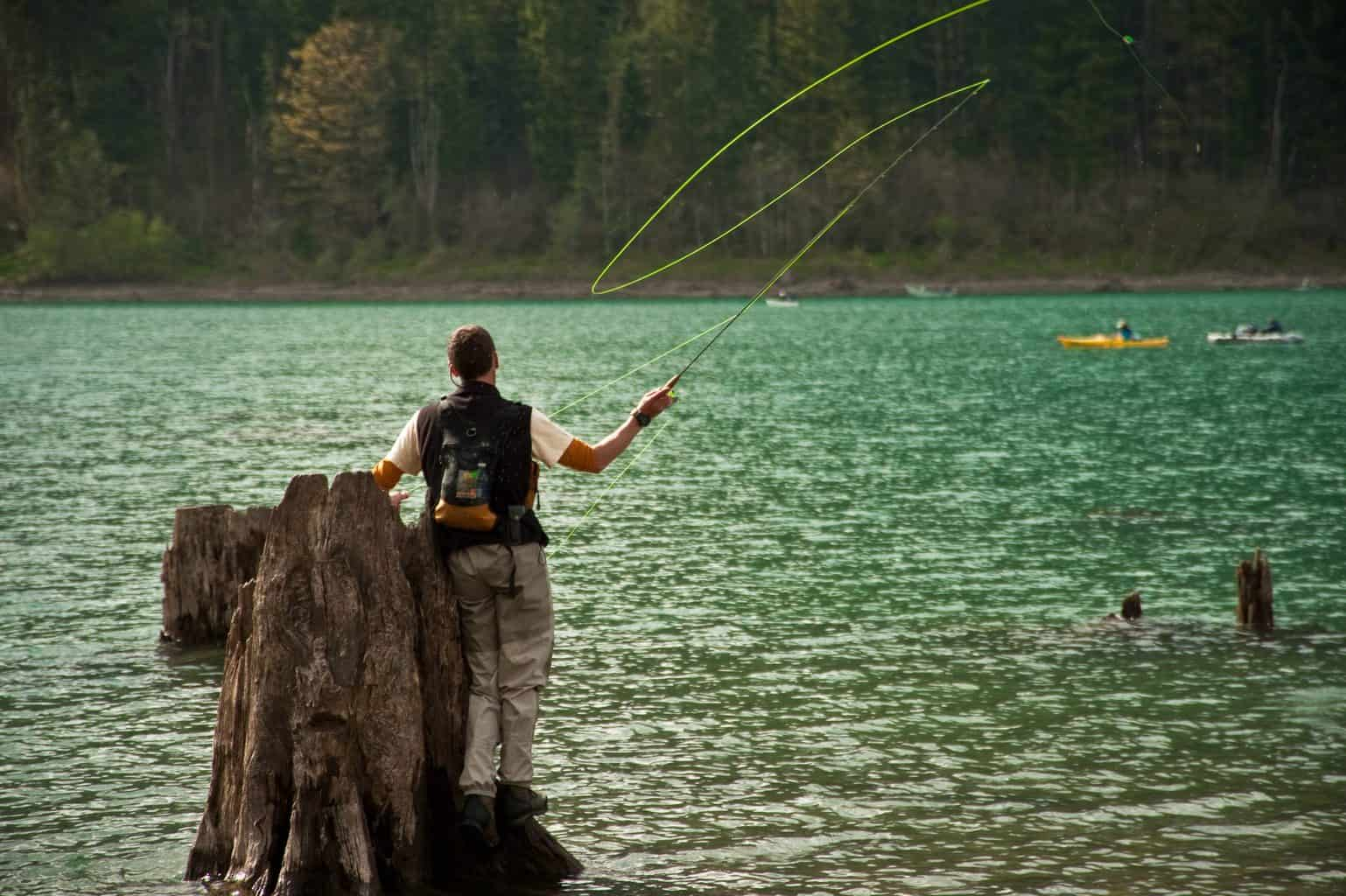 one of the top 10 best fly fishing youtube channels showcasing fly fishing from a tree trunk