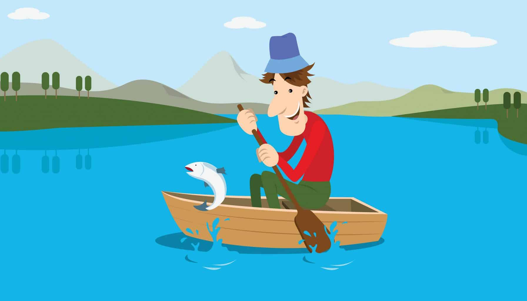 Best Time to Go Fishing - A comic about a man in a boat on a lake being there at the right time to see a fish jumping out of the water