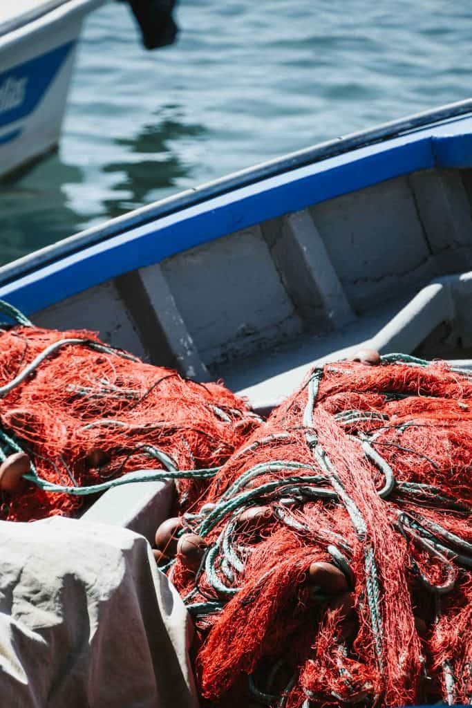 What is Drag Net Fishing? A red net on a fishing boat.