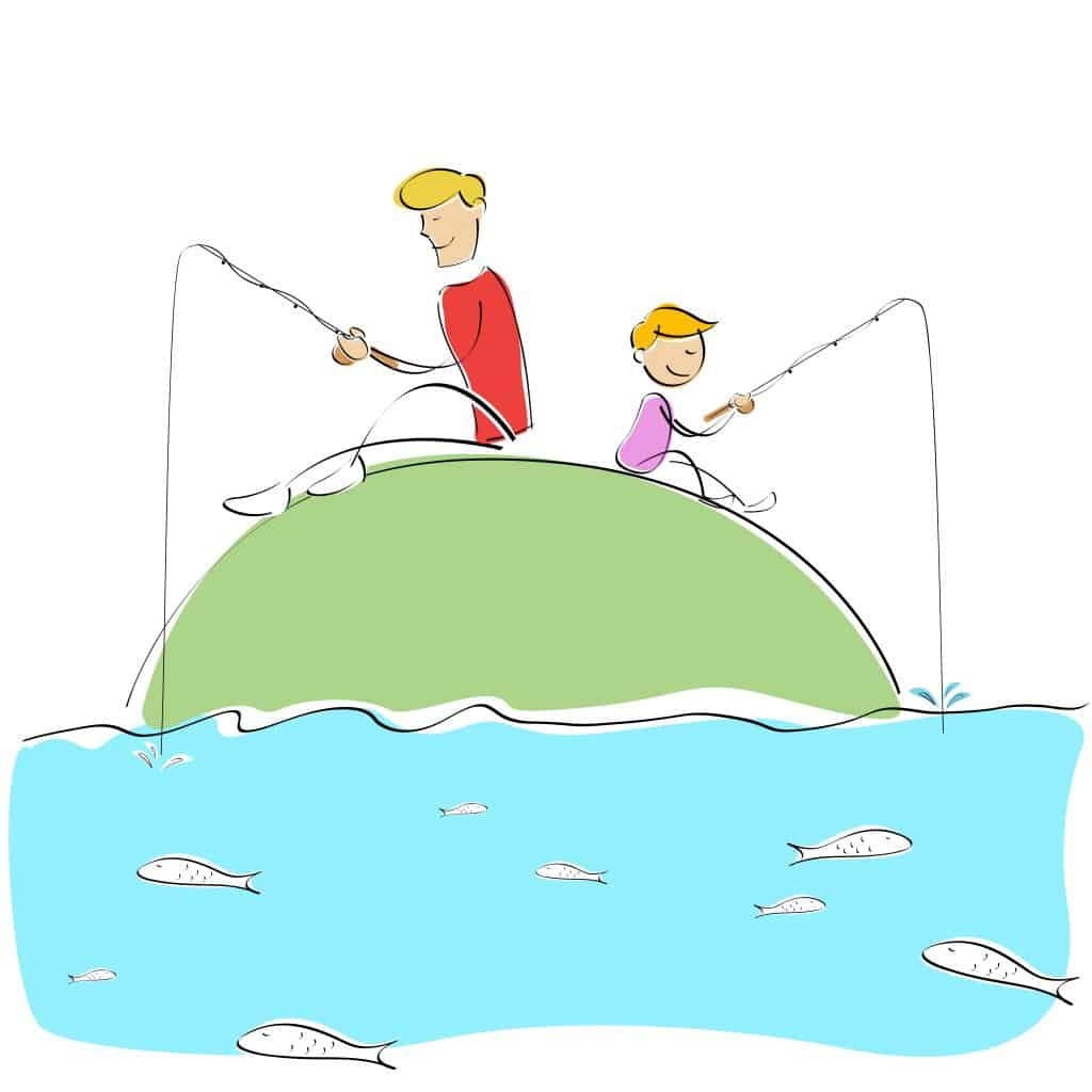 illustration of father and son fishing together