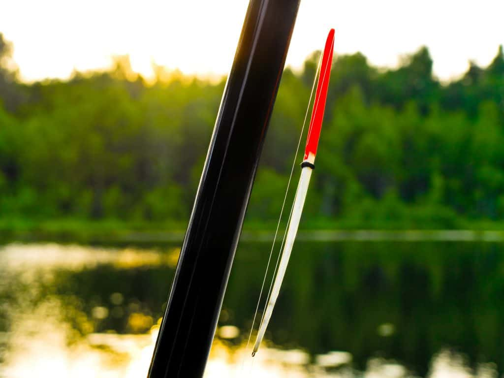 Photo of the fishing float against the lake and forest background