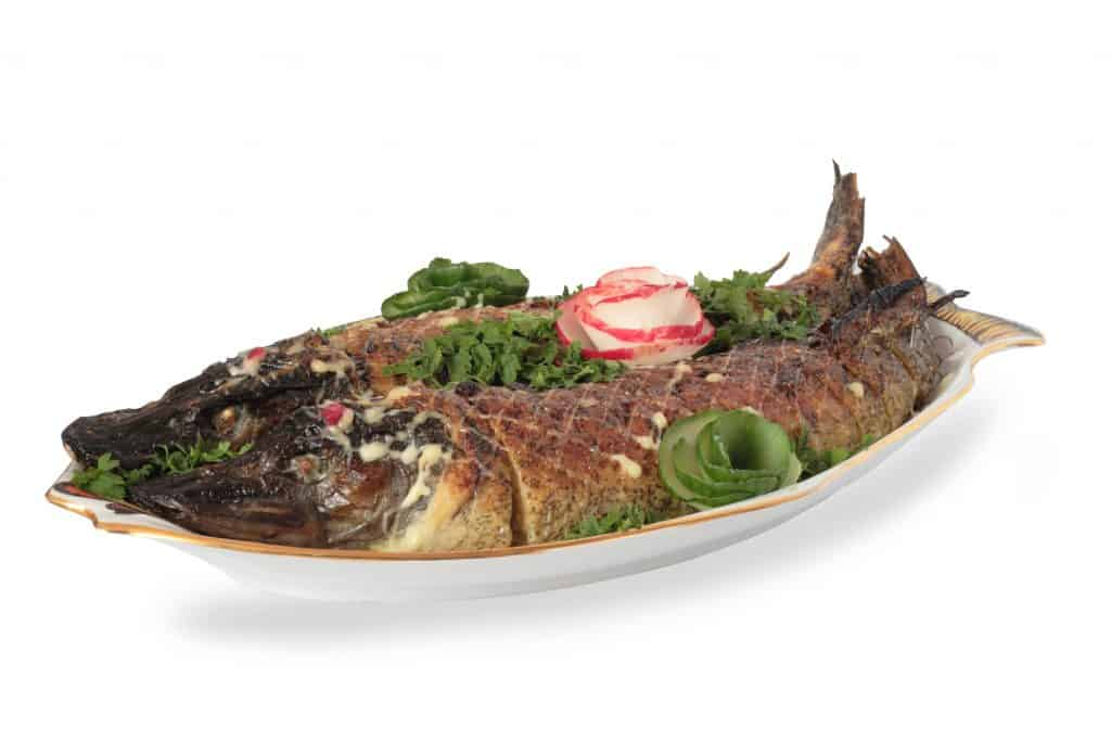 baked pike fish isolated and stuffed on a plate. Can you eat pike?